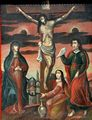 19C Crucifixion of Christ Antique Oil Painting Popular School