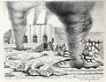 Raul Aguiano Lithograph Mine Workers Pachuca Lime Kilns TGP 1946 Mexican People