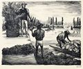 Arturo Garcia Bustos Lithograph Tlahuac Fieldworkers TGP 1946 Mexican People