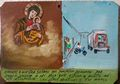 Mexican Retablo Exvoto Lady Socorro Bike Son Almost Hit by 16 Wheeler Trailer