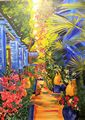 Tropical Path Signed Hanging Canvas Oil Painting w Metal Rods from Neiman Marcus